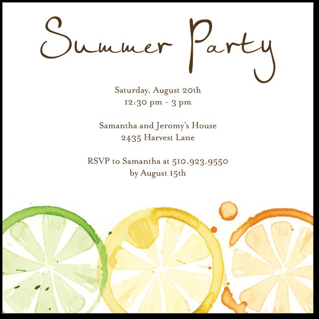 Citrus Impression Chocolate Pool Party Invitations Holiday Summer Invites