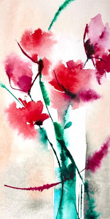 Petit Instant N 300 Peinture Abstraite Bouquet Aquarelle Et