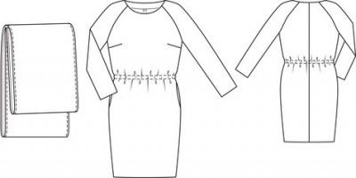 Dress with Removable Cowl pattern flat line drawing www