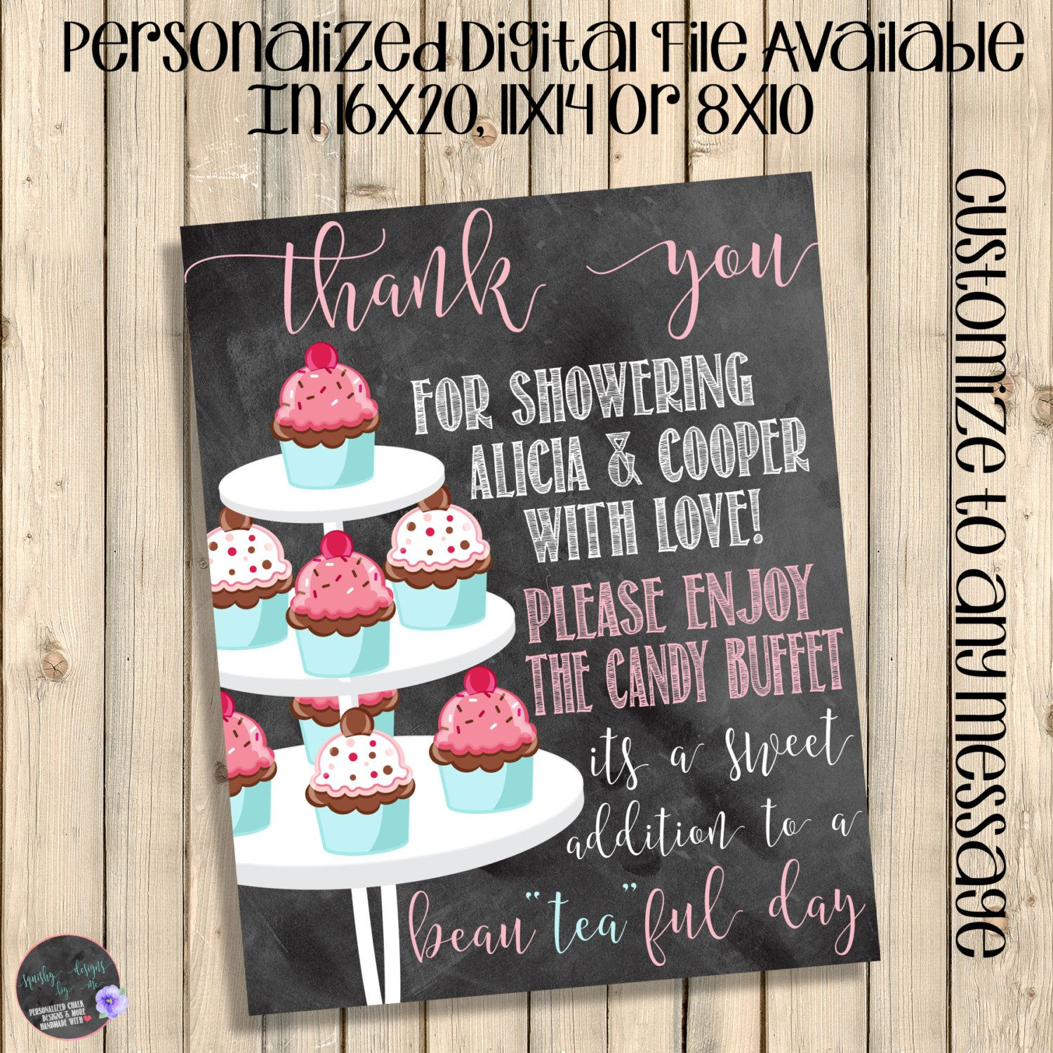 Baby Girl Dessert Table Sign Thank You Sign Gifts Table Sign