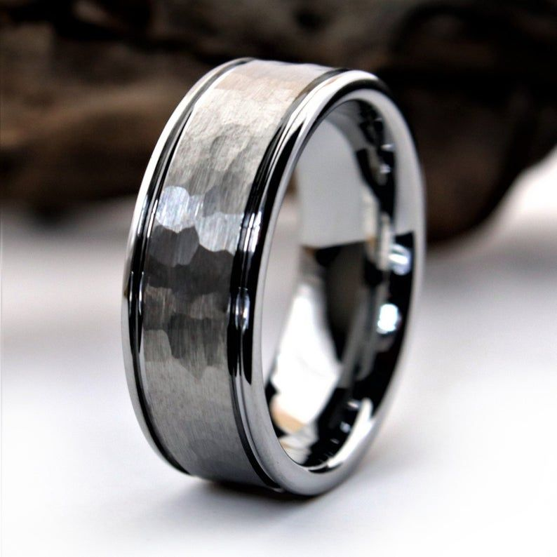 Hammered Tungsten Ring Hammered Wedding Band Silver Etsy In 2021 Mens Wedding Rings Unique Mens Wedding Rings Tungsten Hammered Tungsten Ring