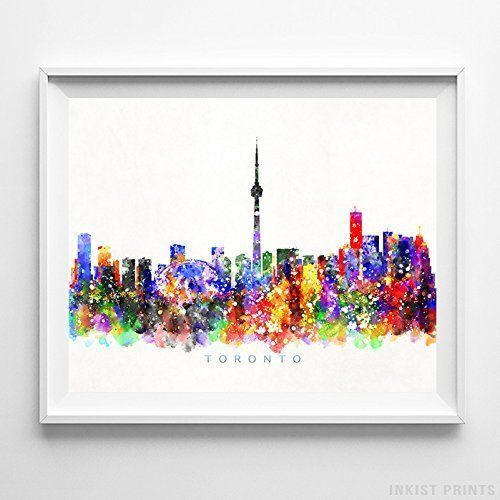 Toronto Canada Watercolor Skyline Wall Art Home Decor Poster