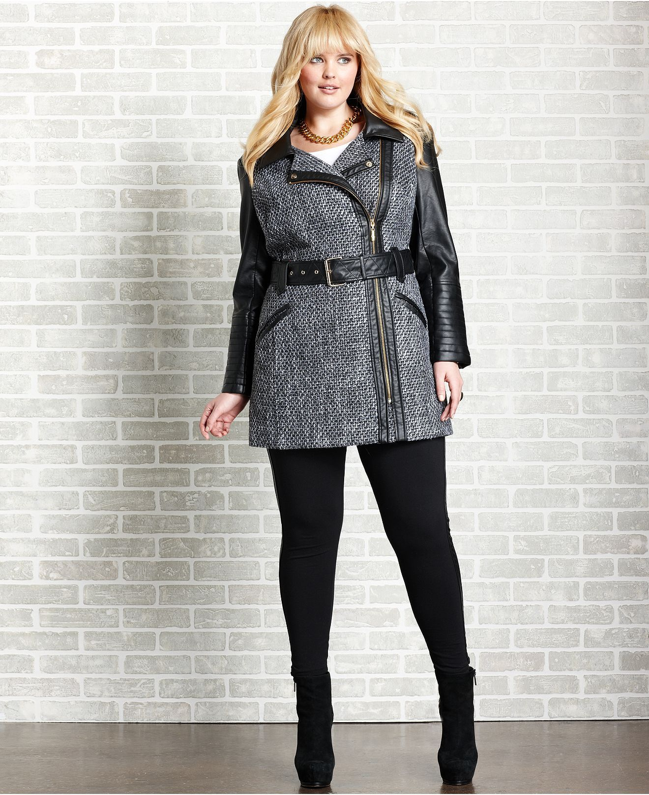 baby phat plus size coat, faux leather tweed trench - plus size