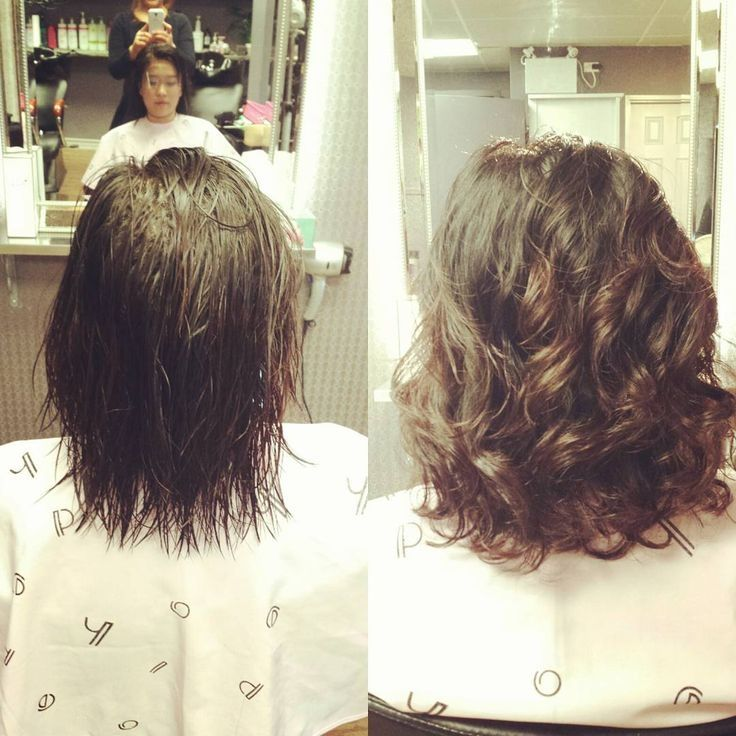Wave perm on short hair