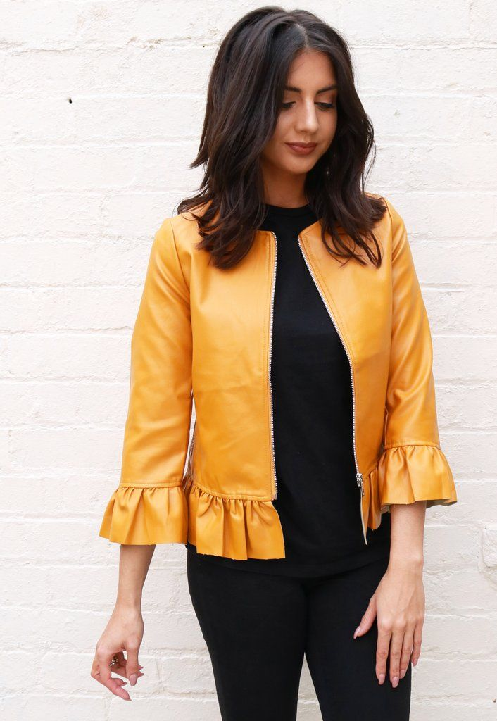 1df865353 Frill Hem Collarless Boxy Faux Leather Jacket in Mustard | Frilly ...