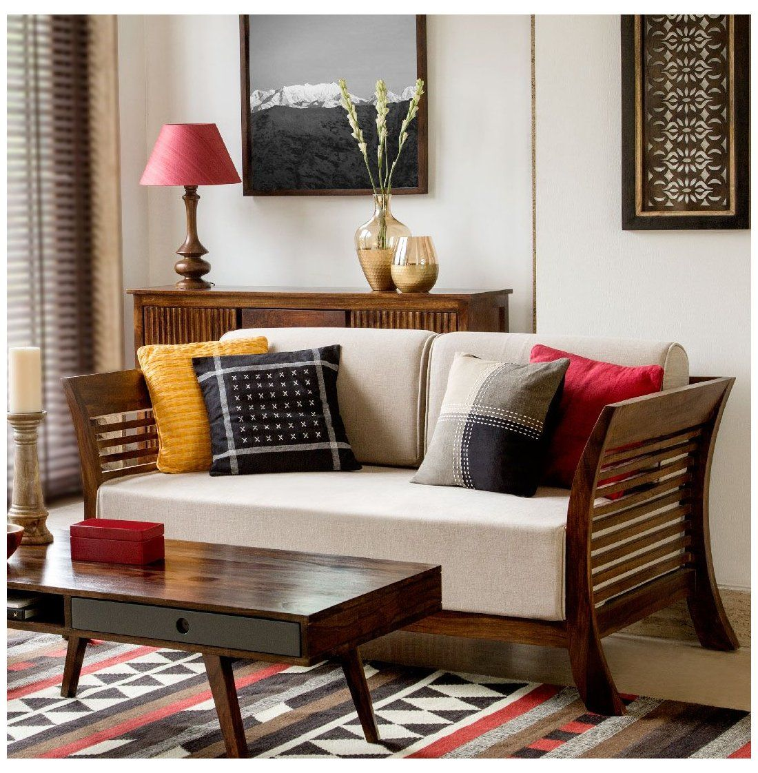 Wood Sofa Indian Woodsofaindian Living Cosy Furniture Home Decor Upholstery Cushions Wooden Sofa Designs Indian Living Rooms Indian Interior Design