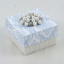 Vintage Style Wedding Favor Box In Blue And White