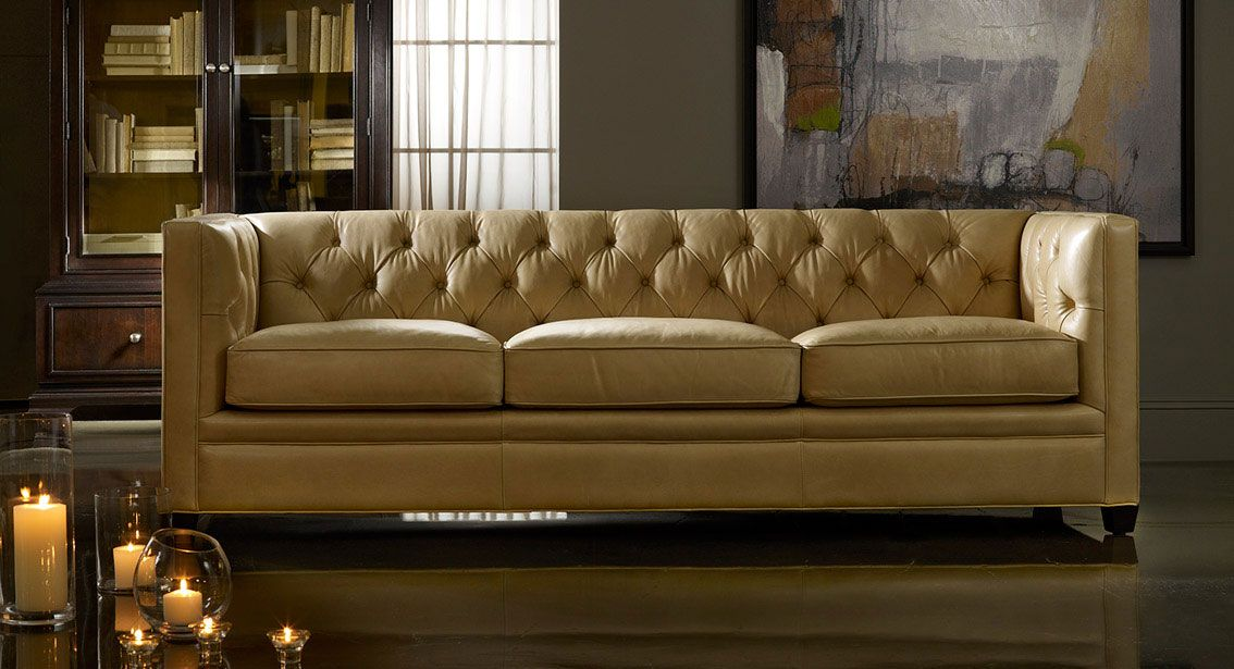 Hooker Furniture: Yellow Leather Sofa