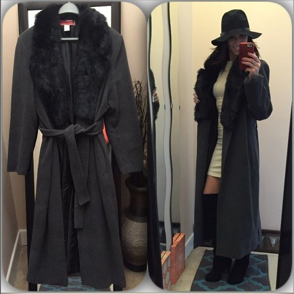 """Full length belted wool overcoat Full length grey coat with black faux fur collar. I love this style coat. You can wear this during the day with sneakers and then at night with heels or boots. Nwot. Never worn. Size L (my mom bought it and never wore it) I am an XS/S, so I do have this clipped in the back to """"model"""". 60% wool 40% rayon, lining 100% poly. •L 48"""" •Sleeve (armpit to wrist) approx. 16"""" Jackets & Coats Trench Coats"""
