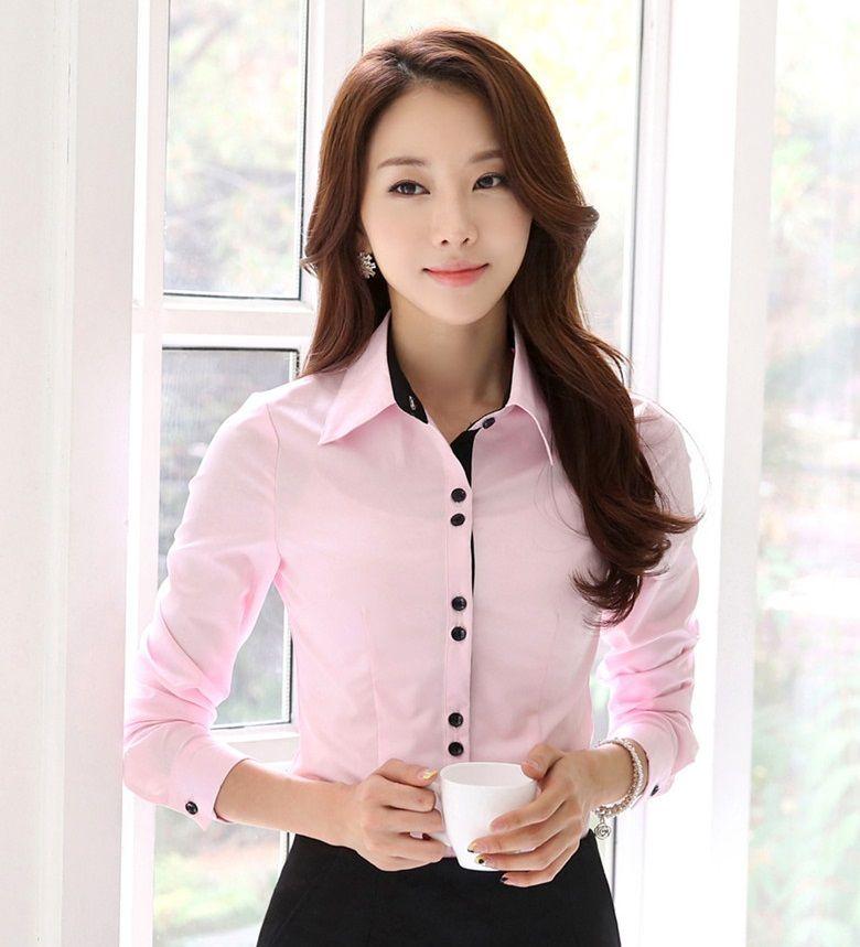 Resultado de imagen para blusa rosada blusa con cuello Diseno de uniformes para oficina 2017