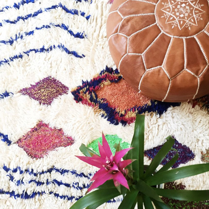 bohemian modern style with lots of colors bouhlou moroccan shag rug