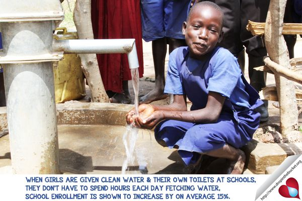 When girls are given clean water & their own toilets at school, they don't have to spend hours each day fetching water, school enrollment is shown to increase by on average 15%.