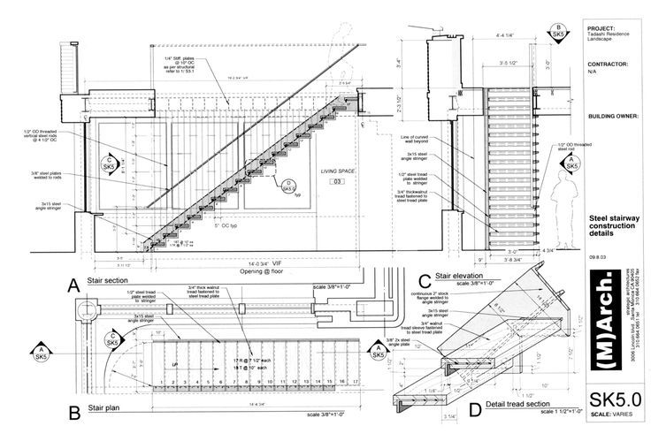 cantilevered timber stair detail