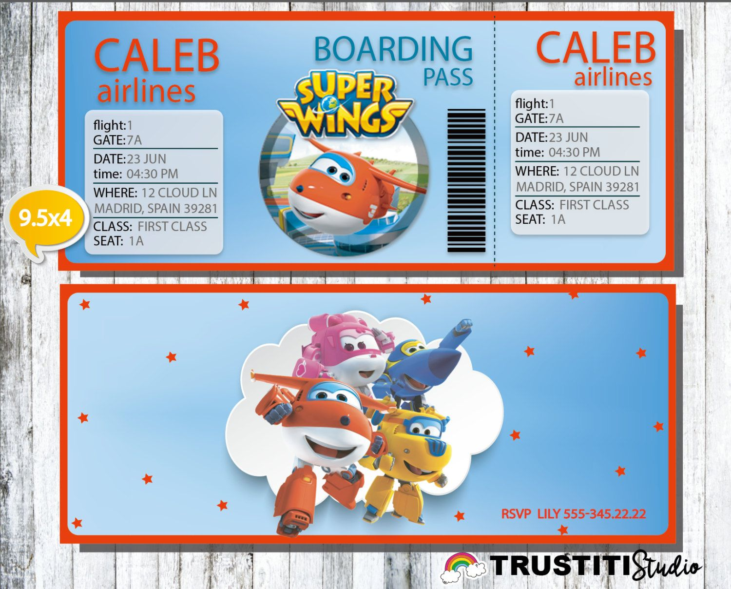SUPER WINGS Invitation, Boarding Pass Invitation, Super Wings