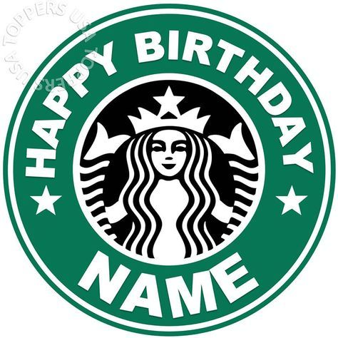 Details about EDIBLE Starbucks Logo Birthday Party Cake Topper Wafer Paper 7.5″ (uncut)