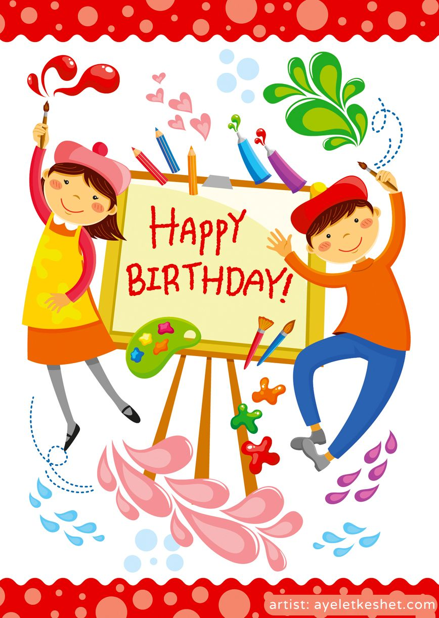 Happy Birthday Card Cartoon Illustration Of Artistic Boy And Girl Drawing On Art Board