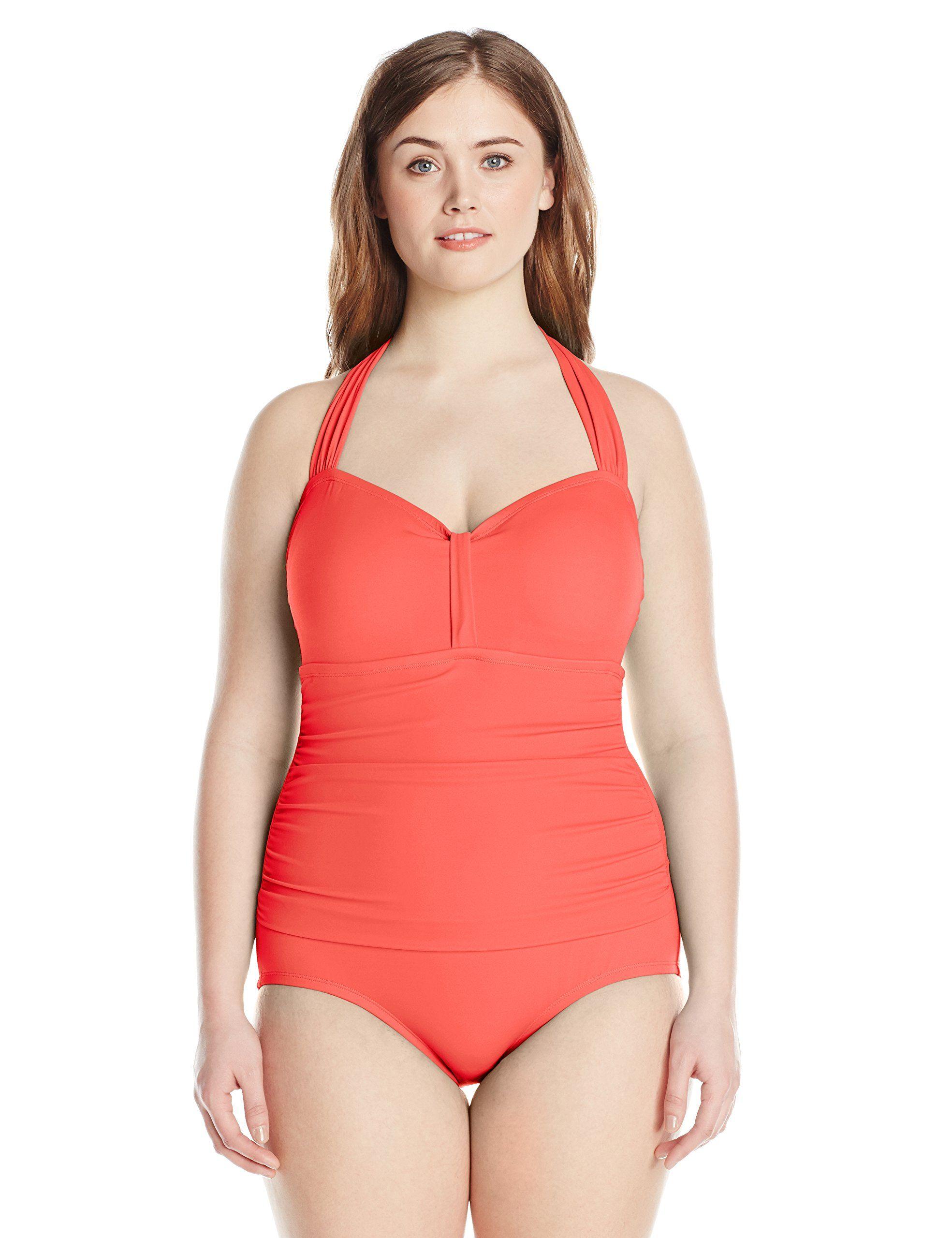 5978641e568 Jantzen Women s Plus-Size Halter-Neck Swimsuit at Amazon Women s Clothing  store