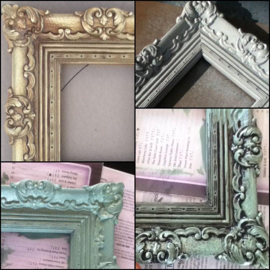frame makeover: old, gold plastic frame; spray paint white with ...