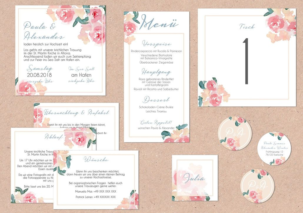 Hochzeitspapeterie, Hochzeitsset, Pastell, Mint, Rosé, Pocketfold,  Einladungs