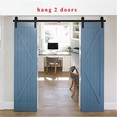 4 20ft Wood Sliding Barn Door Hardware Closet Kit For Single Double Bypass Doors Home California Beach House House