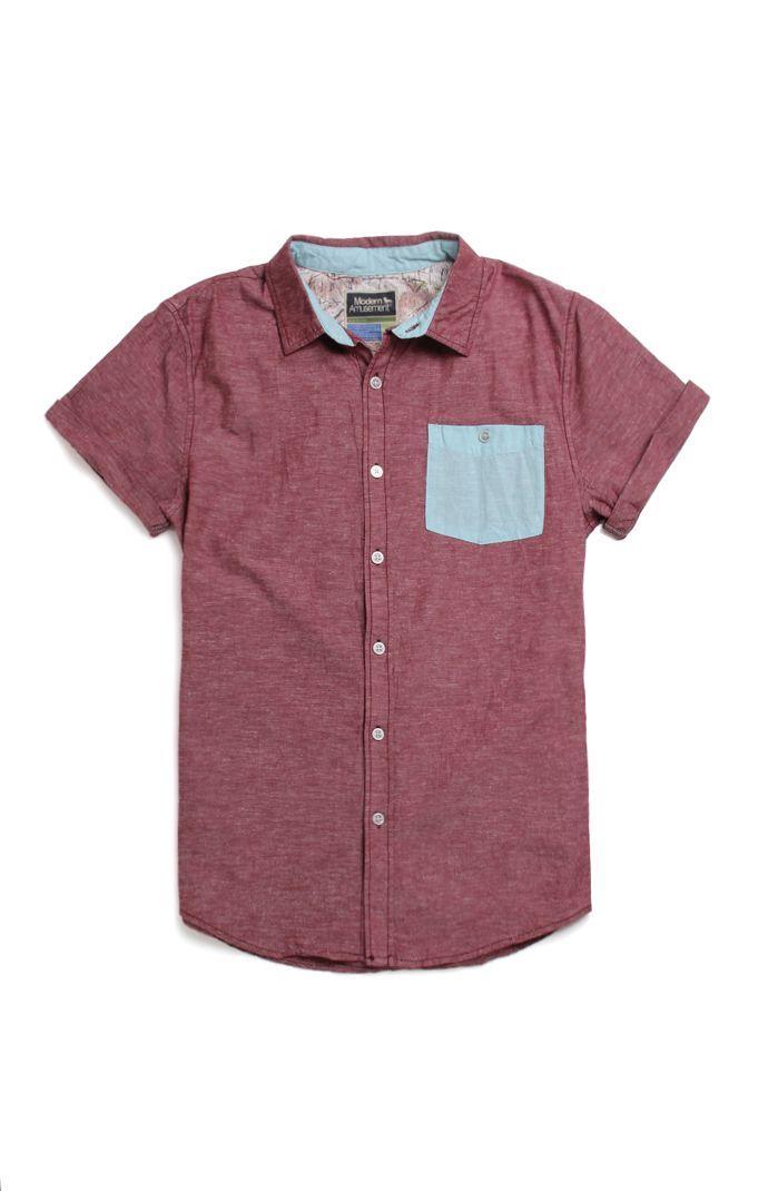 Modern Amusement Mix It Up Short Sleeve Woven Shirt $34.95