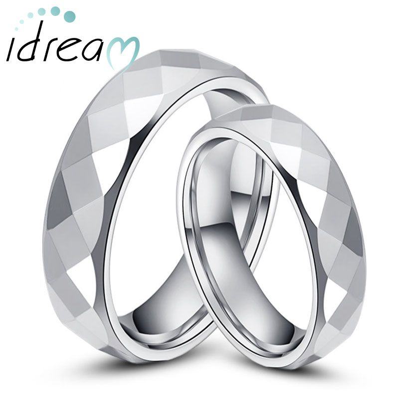 Tungsten Wedding Bands Set For Women Men Flat White Carbide Rings With Faceted Finish 2mm 6mm Matching S Jewelry Him And