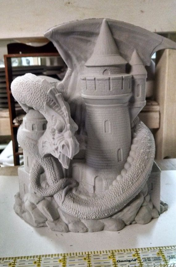 Large Fall Dragon around Castle ceramic bisque ready to