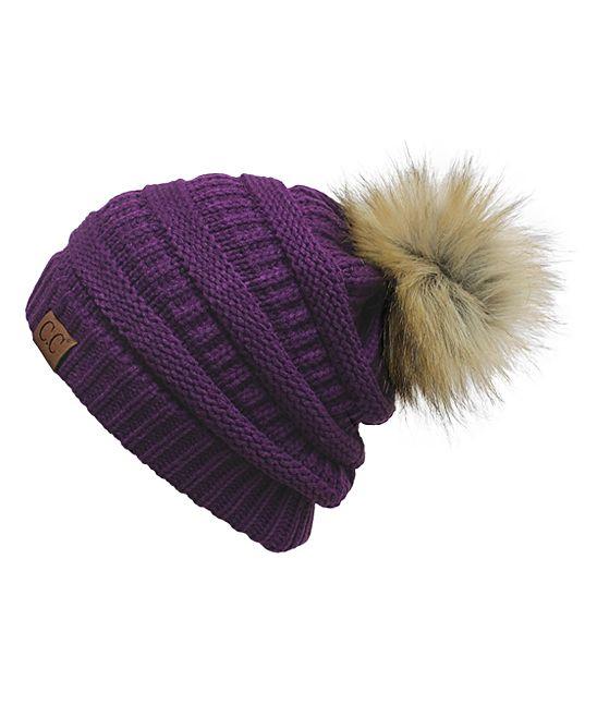 75d68211c983b8 Dark Purple & Tan Pom-Pom Beanie | Products | Pinterest | Beanie ...