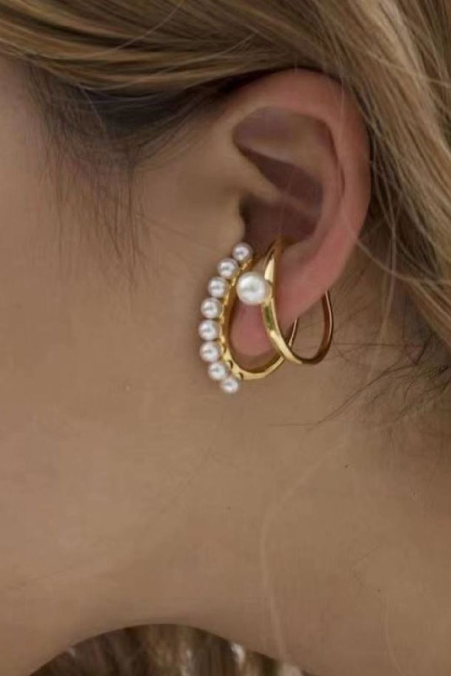 Women Chic Pearl Ear Cuff Beads Stud Earrings Gold Plated Drop Earings