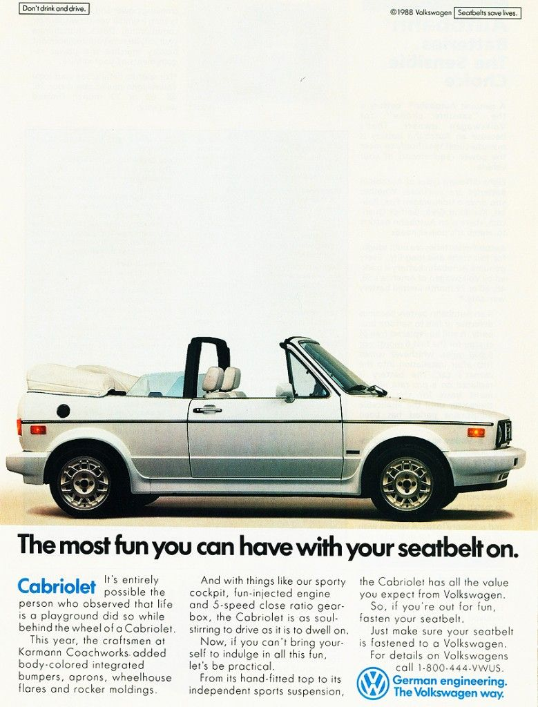 1989 Volkswagen Cabriolet advertisement This is just like my