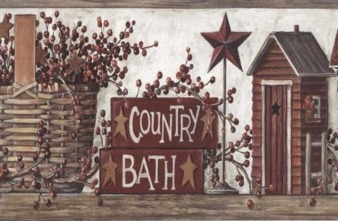 Decorate Your Bathroom With This Folk Art Country Outhouse Wallpaper Border.  This Is The Perfect Outhouse Border For Those Who Appreciate Si