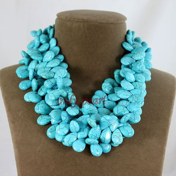 Free Shippingc green Turquoise Necklace 1819inch by OnlyPearl, $39.00
