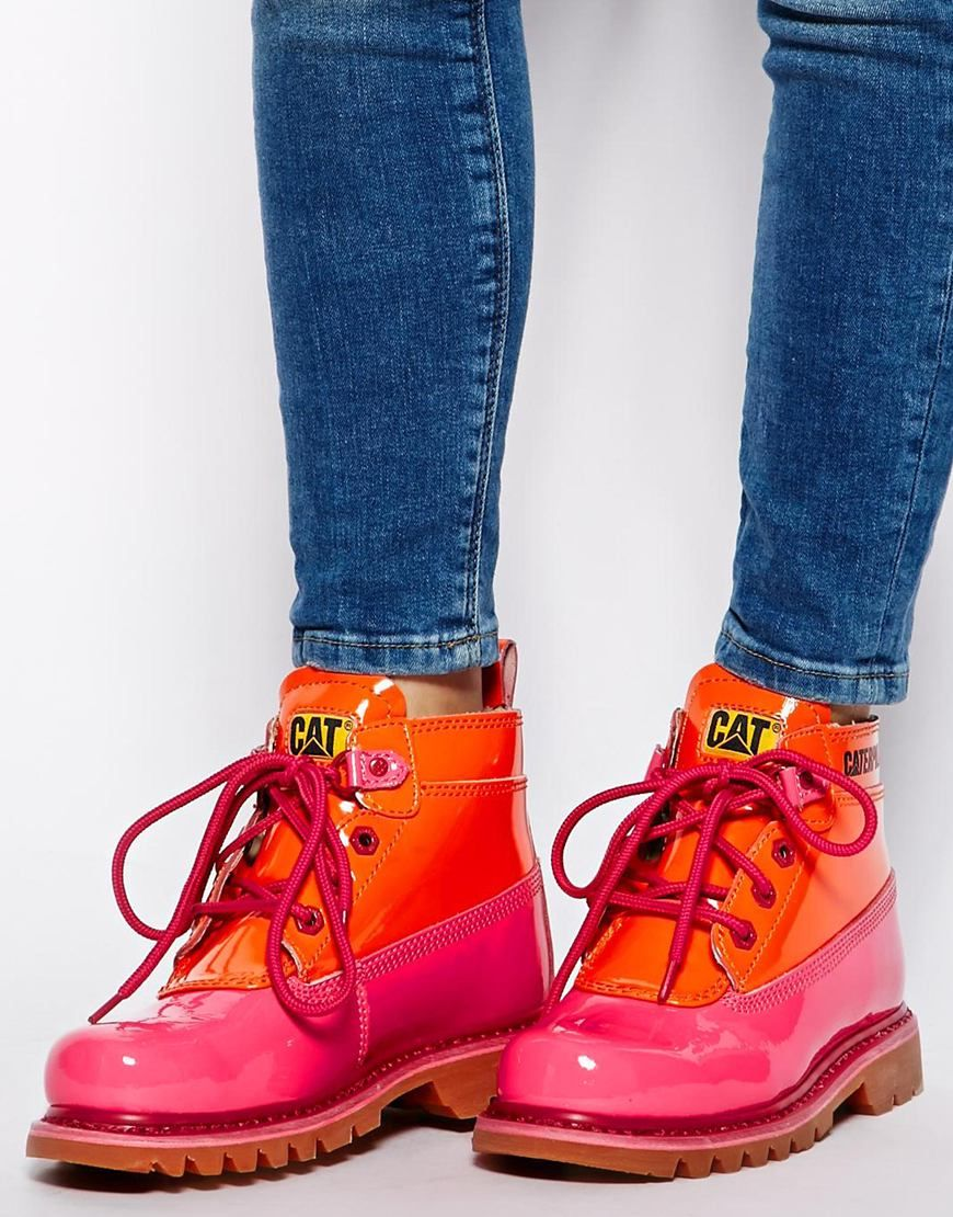 new style a4b22 fad43 Caterpillar Alexa Pink Patent Ankle Boots Botines Caterpillar, Zapatos  Caterpillar Mujer, Zapatos Rojos,