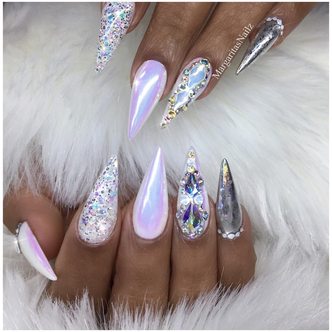 White chrome stiletto nails Winter nail art Bling Christmas glitter ...