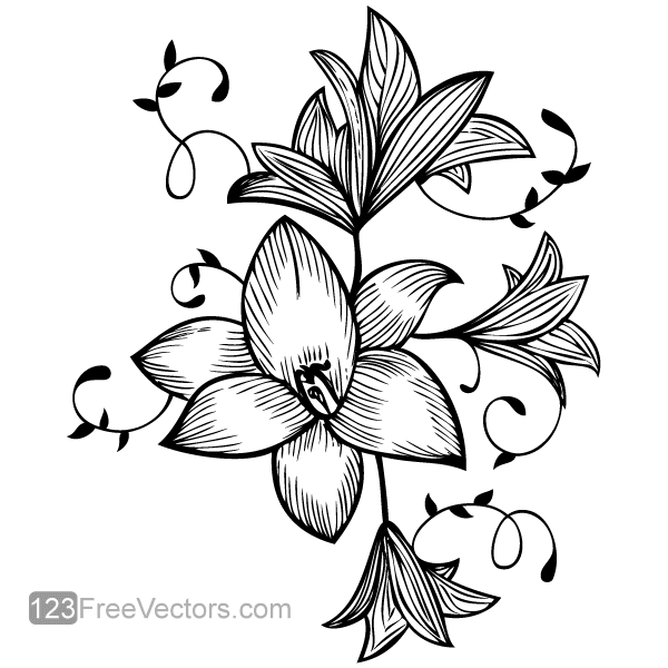 flower vector graphic free hand drawing hand drawn flowers and rh pinterest com flower vector art psd flower vector art free download