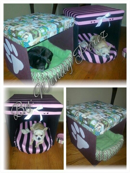 Diy Dog Bed House Made Out Of Foldable Ottomans Along With Fabric Ribbon Studs Buttons Fabric Glue Staples Girldog Diy Dog Toys Diy Dog Stuff Diy Dog Bed