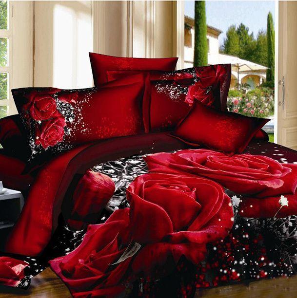 Gorgeous Deep Red Roseu0027s 3D Design,4pcs Pure Cotton Satin Bedding Set, With  Comforter