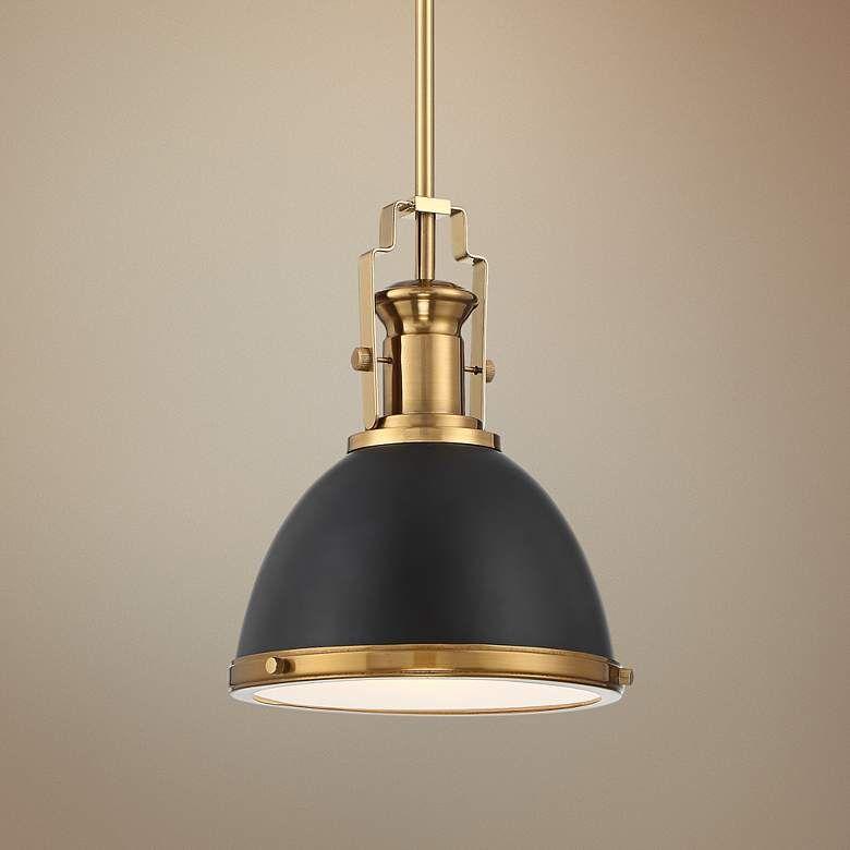 Memphis 9 3 4 Wide Black And Burnished Brass Mini Pendant 64t25 Lamps Plus Gold Pendant Light Kitchen Mini Pendant Lights Stylish Pendant Lighting