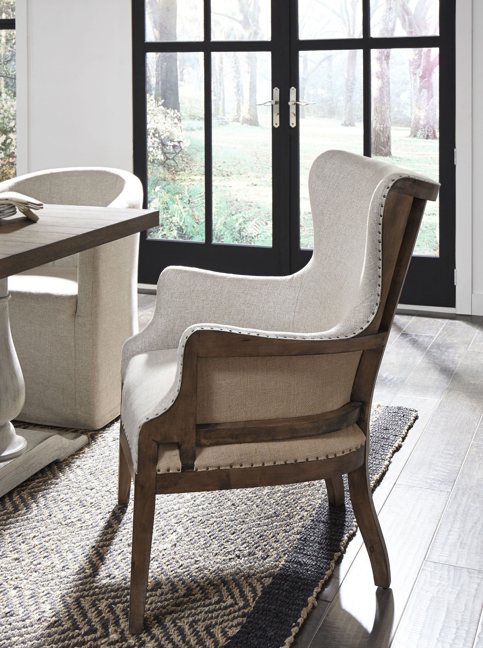 Off White Linen Curved Back Arm Chair Furniture, Side