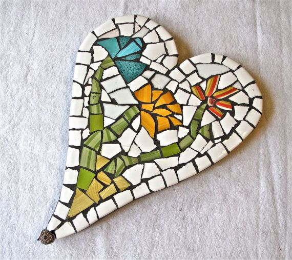 Heart mosaic made with broken plates by JosaicsAZ on Etsy