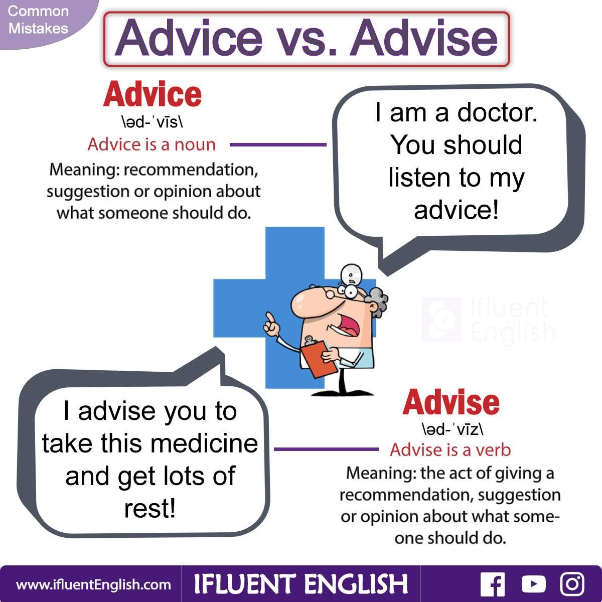 Common mistakes advice vs advise english language esl efl online english lessons with a certified teacher from london uk conversational english business english and ieltstoefl preparation 1betcityfo Choice Image