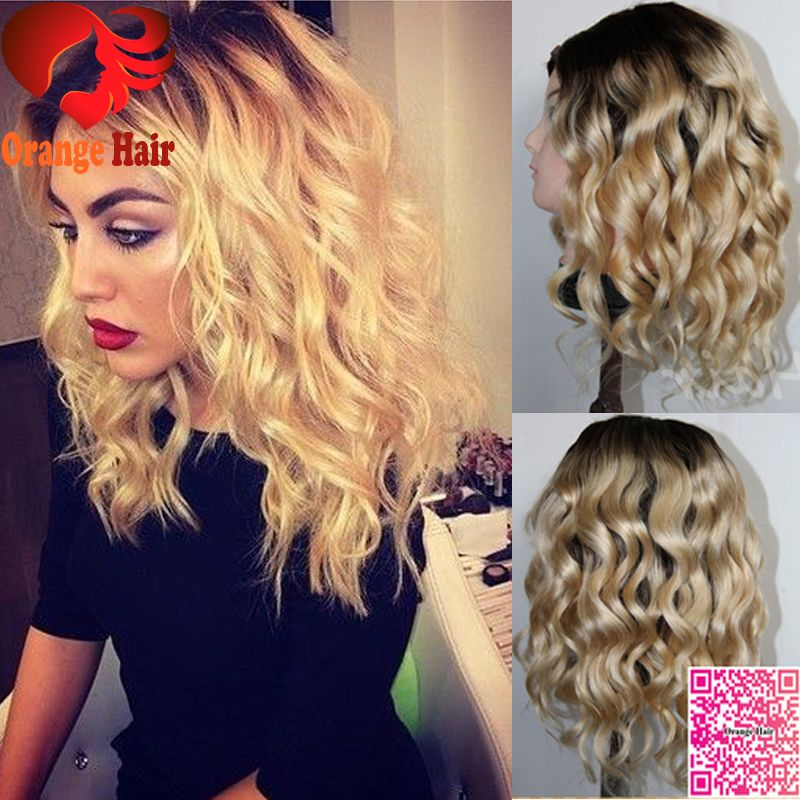 Honey Blonde Curly Human Hair Short Wig Ombre Color1b T27 Brazilian Short Full Lace Wig Lace Front Honey Hair Dark Roots Blonde Hair Blonde Hair With Roots