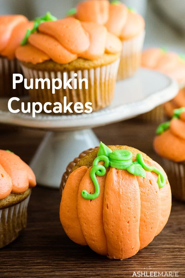 Soft and fluffy and delicious pumpkin cupcakes with a delicious cream cheese frosting.  And Decorating these pumpkin cupcakes is super easy too!