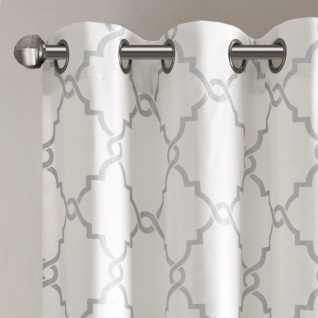 1 Piece Ivory Silver Scroll Geometric Pattern Window Curtain 95