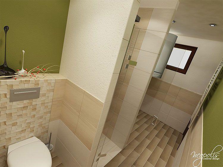 Úzka a dlhá kúpeľňa s nikou... Viac náhľadov tejto vizualizácie na: Kupelnovy-manual.sk