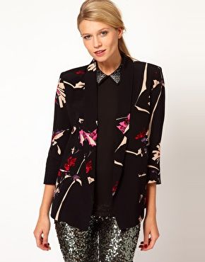 Enlarge French Connection Printed Long Line Blazer