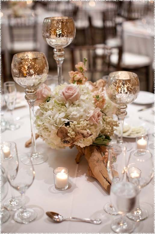 Centerpieces For Weddings With Candles And Flowers Dorado y