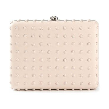 ALEXANDER MCQUEEN nude studded clutch found at Nudevotion.com