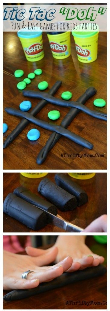 Play Doh Party ideas, Tic Tac Doh easy games to play with playdoh, Birthday party games for kids, low cost group activities, family reunion ideas: