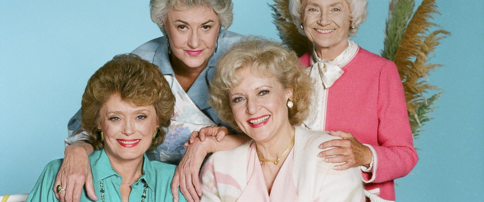 """PHOTO: From left, Rue McClanahan as Blanche Devereaux, Bea Arthur as Dorothy Petrillo Zbornak, Betty White as Rose Nylund, and Estelle Getty as Sophia Petrillo are pictured in this """"Golden Girls"""" promo photo."""